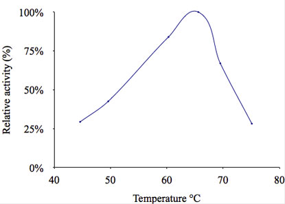 Fuc123 Fucosidase activity vs. temperature